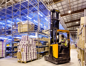 Fork lift in warehouse